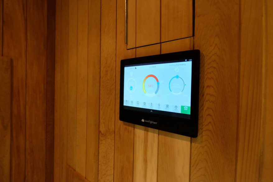 It can be controlled from the inside via the special control panel which also doubles up as a multimedia player
