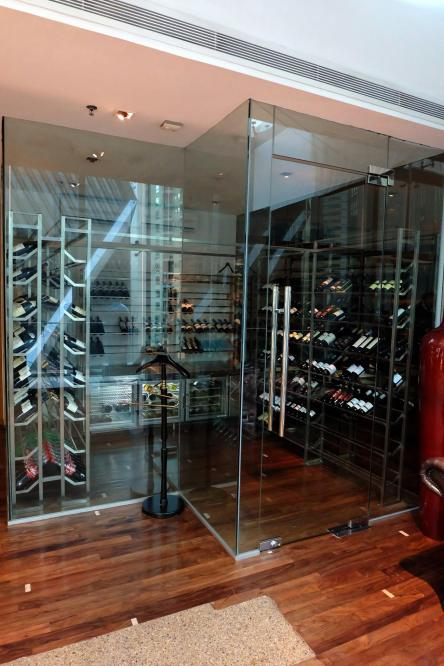 The wine cellar with a good variety of wines