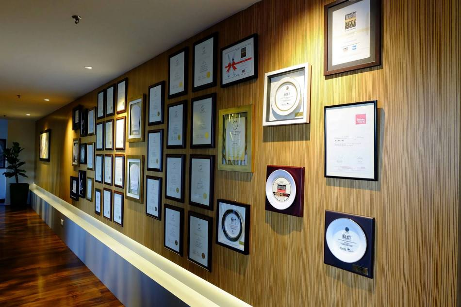 Tanzini's wall of awards and boy have they won many awards!