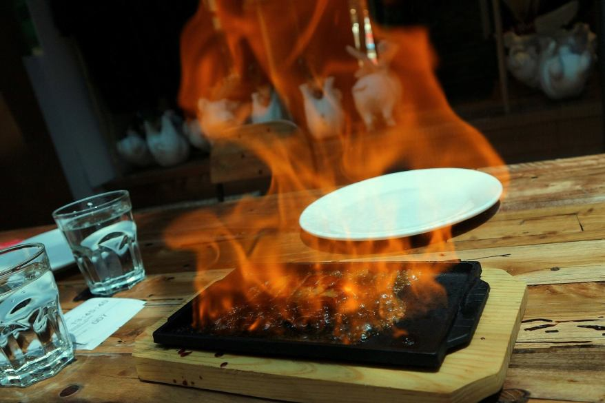 Flambeed with bourbon!