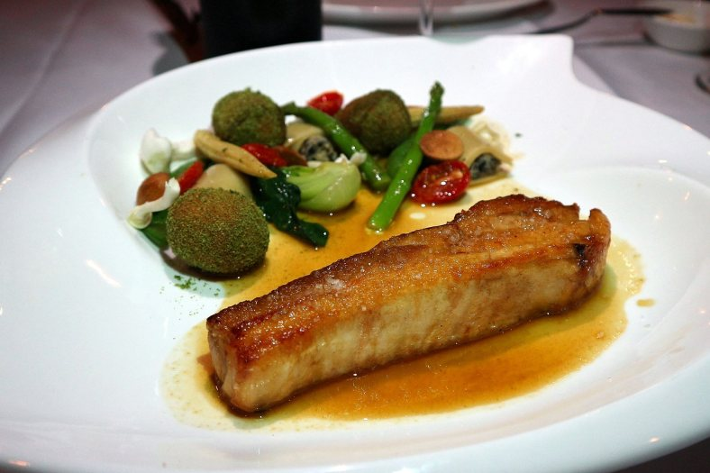 Pork belly and crispy '' Gribiche'' style pork feet, mushroom cannelloni - RM49.00