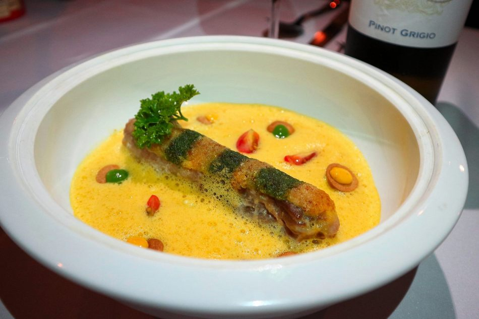 Sea bass fillet, creamy carrot puree and avruga caviar, citrus vinaigrette - RM58.00