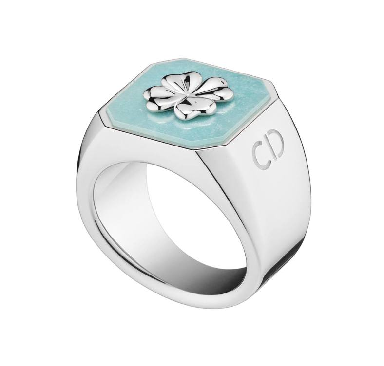Lucky Dior 'Clover' pattern ring in metal with rhodium finish and amazonite