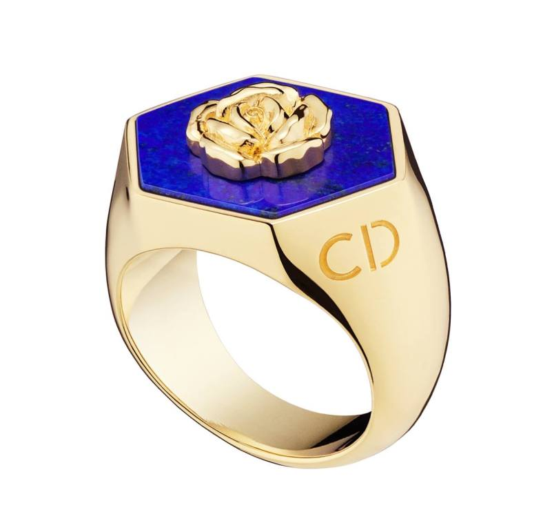 Lucky Dior 'Rose' pattern ring in metal with gold finish and lapis lazuli