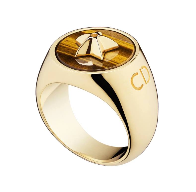 Lucky Dior 'Star' pattern ring in metal with gold finish and tiger eye
