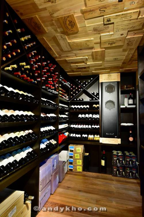 The temperature controlled wine cellar