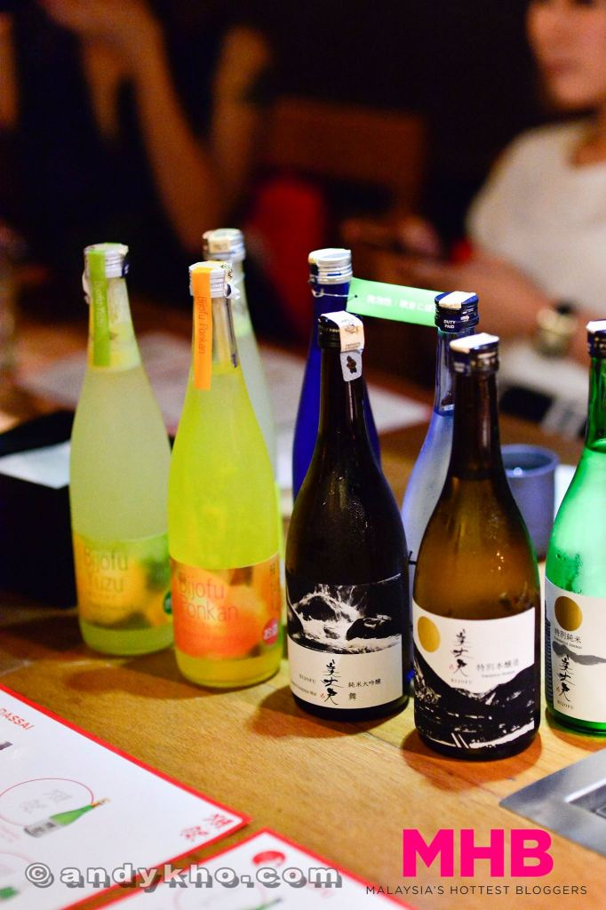 Awaiting us at the table were various bottles of sake