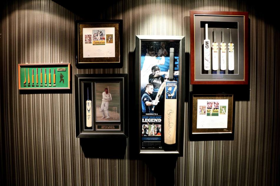 Cricket memorabilia adorns both floors of the establishment