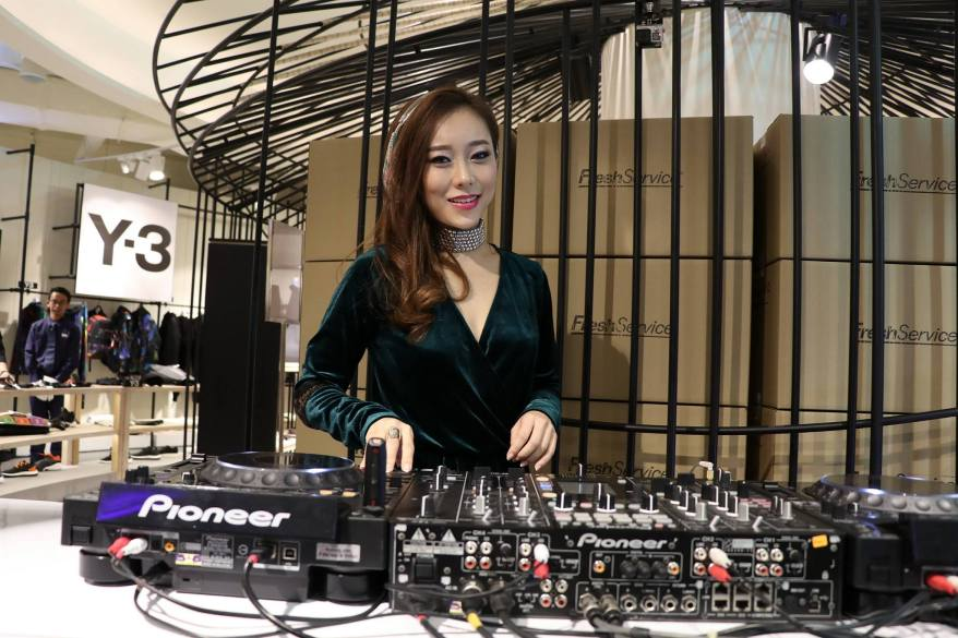 DJ Nikki spinning on the first floor
