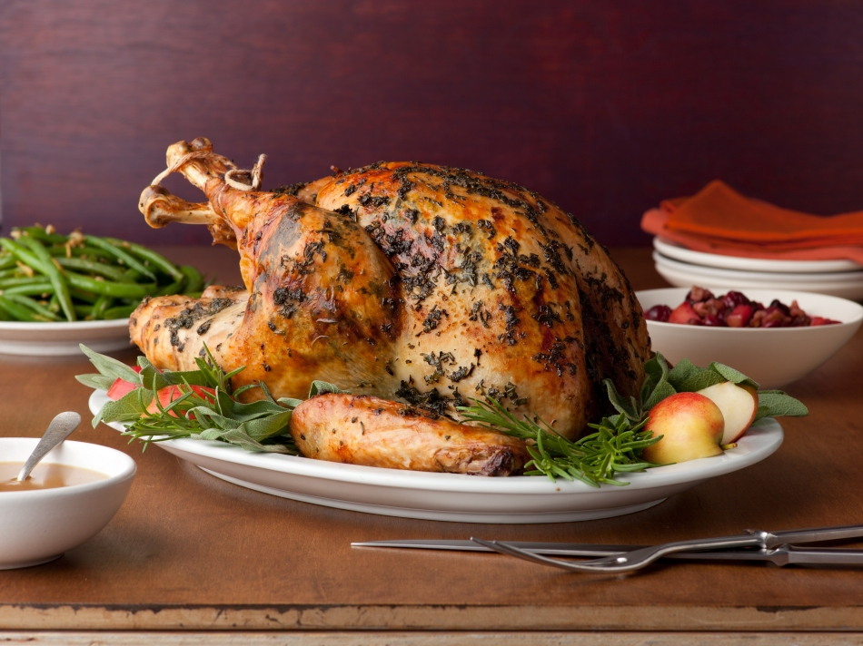 Brined Herb-Crusted Turkey with Apple Cider Gravy; Anne Burrell