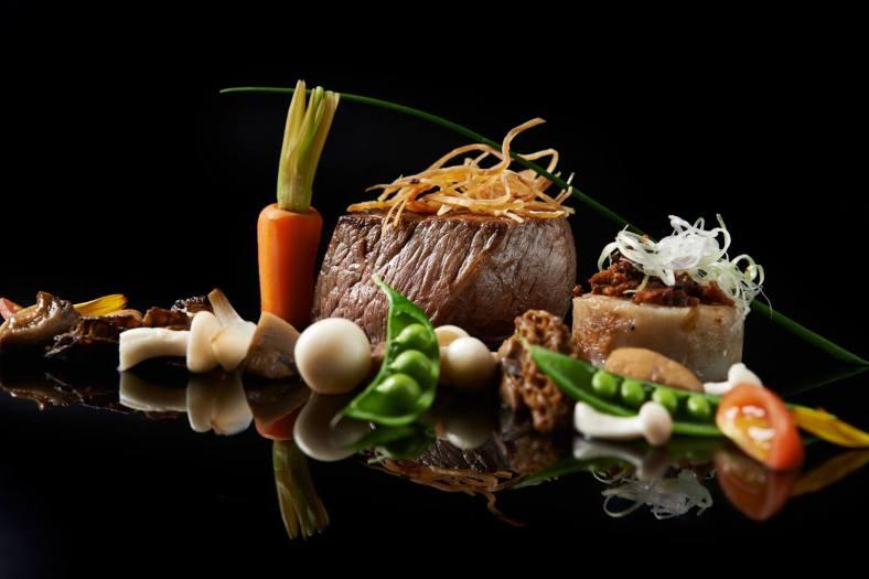 rklh-wok-seared-beef-of-tenderloin-carrot-cake-greens-mushroom-cream-sauce