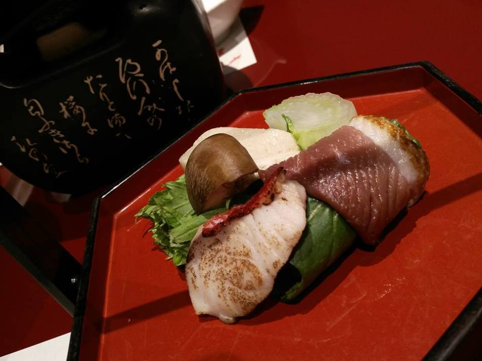 Seasonal vegetables with red snapper from Kouchi and saikyo miso from Kyoto