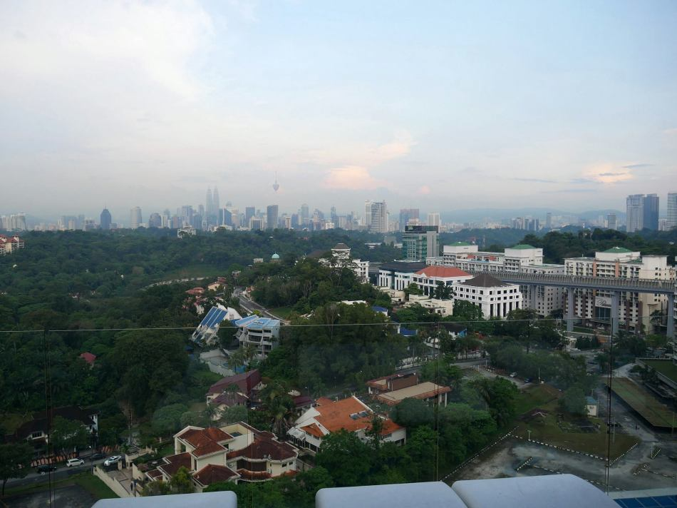 On a clear day the Petronas Twin Towers and KL Tower are visible and you can even see Genting's lights later at night if it's very clear.