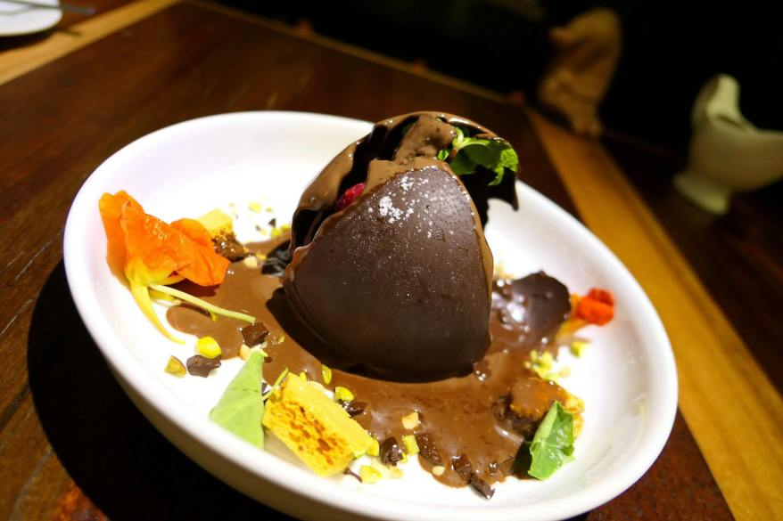 Melting the chocolate sphere
