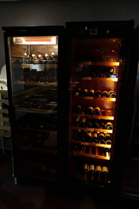 A wine chiller at the back keeping the bubbly and white wines cold. There's an extensive list of wines to choose from at La Risata.