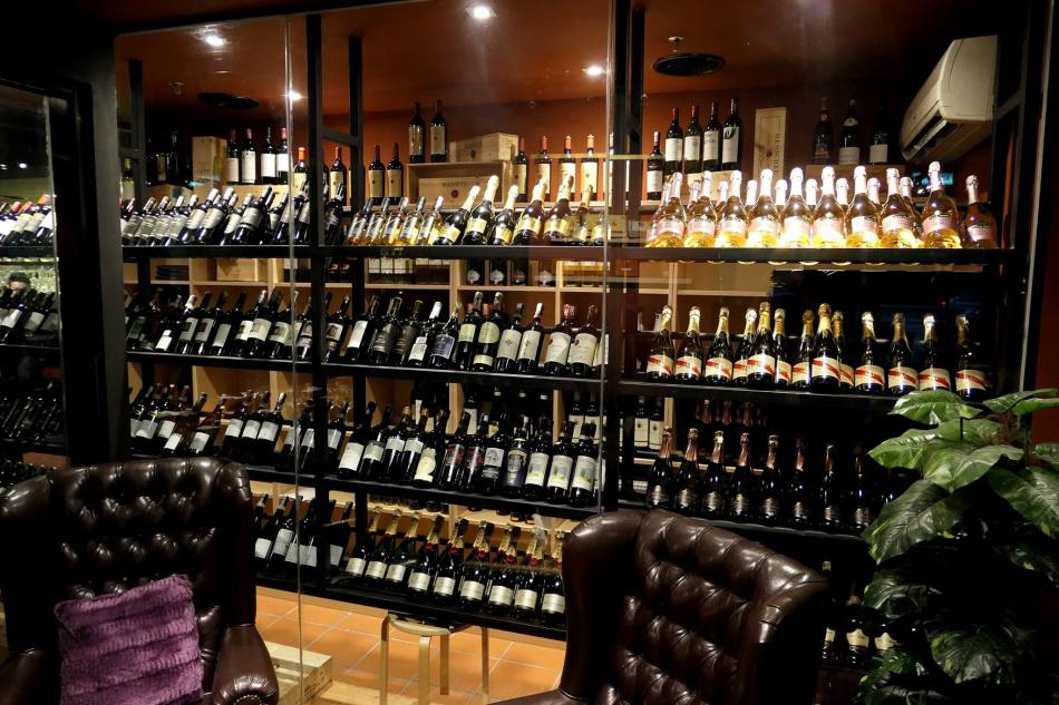 The wine cellar which carries a wide range of mostly Italian red/ white wines and sparkling wines, as well as champagne