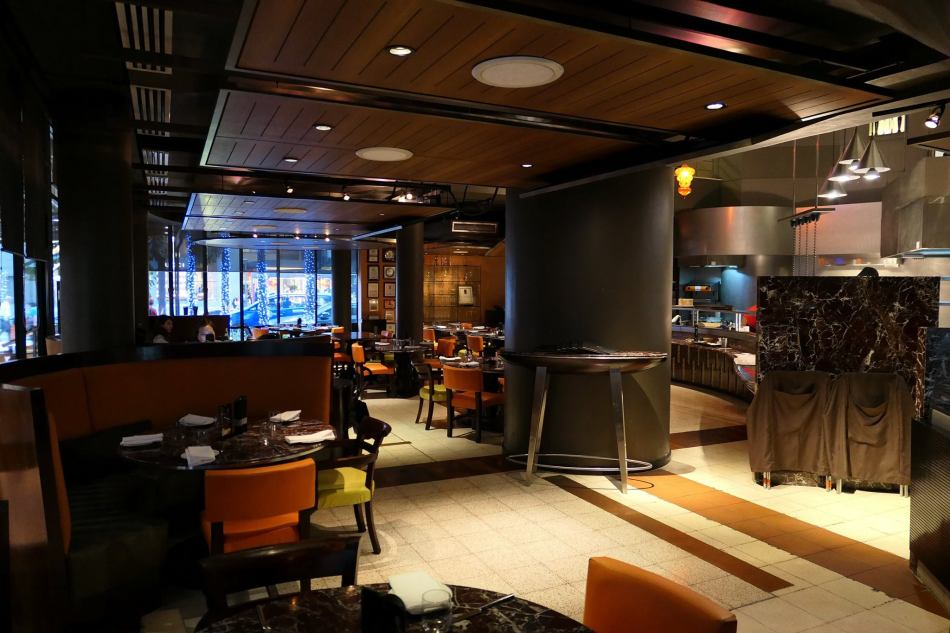 The interior of the restaurant is warm and cosy