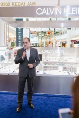 Jose de Cardoso, the president of Swatch Group Malaysia & Singapore giving his speech