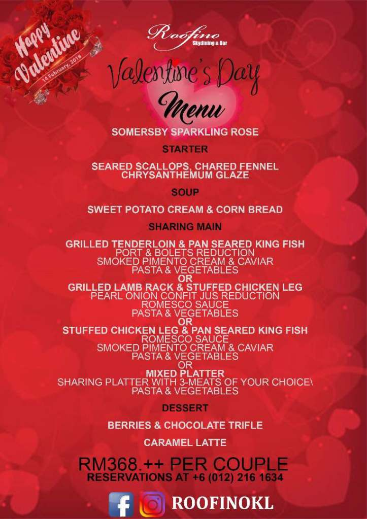 Valentine S Day 2018 Romantic Dinners In Kuala Lumpur