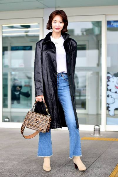 Korean Actress Go Joon Hee carrying the FF logo Kan I from the Fendi Spring Summer 18 collection