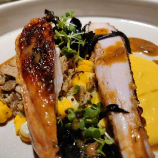Slow Roast Spring Chicken, finish on grill with Potato Dauphinoise , sauteed black trumpet mushroom, Charred corn and Chicken Jus Half bird-Rm35.00 Full bird-Rm60.00
