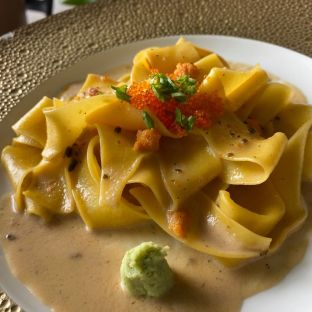 Pappardelle with bafun uni, tobiko and with fresh wasabi on the side
