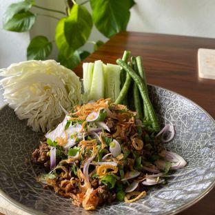 "Chiang mai style Beef salad ""Laab Neụ̄̂x (100% Pure Australian angus mince)"", shallots, mint, chilli, lime. Rm30.00 Rm5.00(for extra chiang mai sticky rice)"