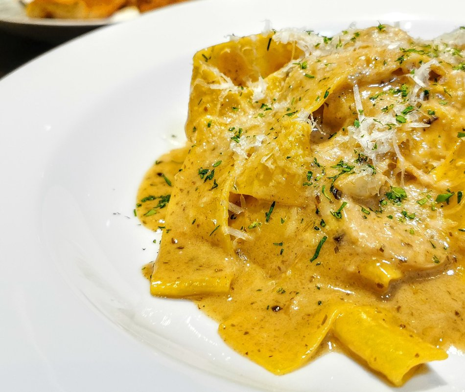 """Pappardelle """"Umami XL"""" with black truffle and salted kombu at Bref by Darren Chin"""