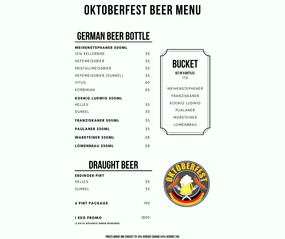 Bavarian Bierhaus The Curve Oktoberfest Menu